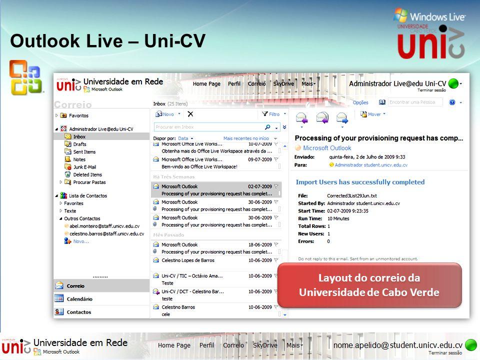 Outlook Live – Uni-CV Layout do correio da Universidade de Cabo Verde