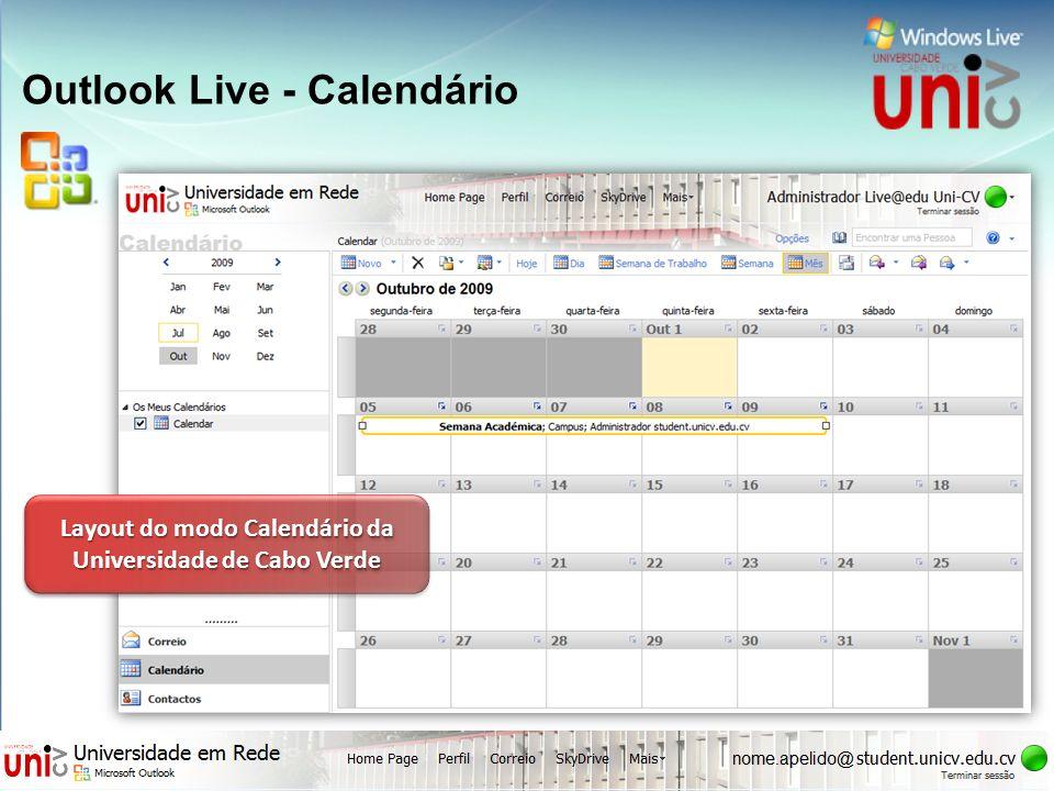 Outlook Live - Calendário Layout do modo Calendário da Universidade de Cabo Verde