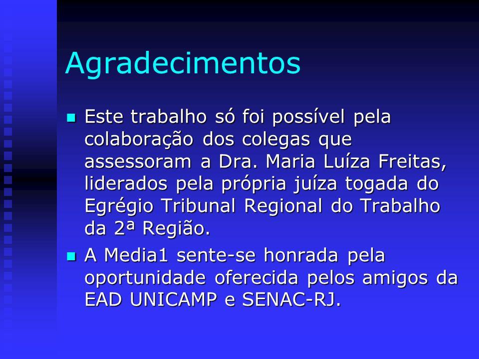 Agradecimentos Este trabalho só foi possível pela colaboração dos colegas que assessoram a Dra. Maria Luíza Freitas, liderados pela própria juíza toga