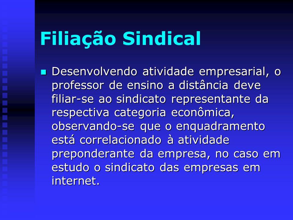 Filiação Sindical Desenvolvendo atividade empresarial, o professor de ensino a distância deve filiar-se ao sindicato representante da respectiva categ