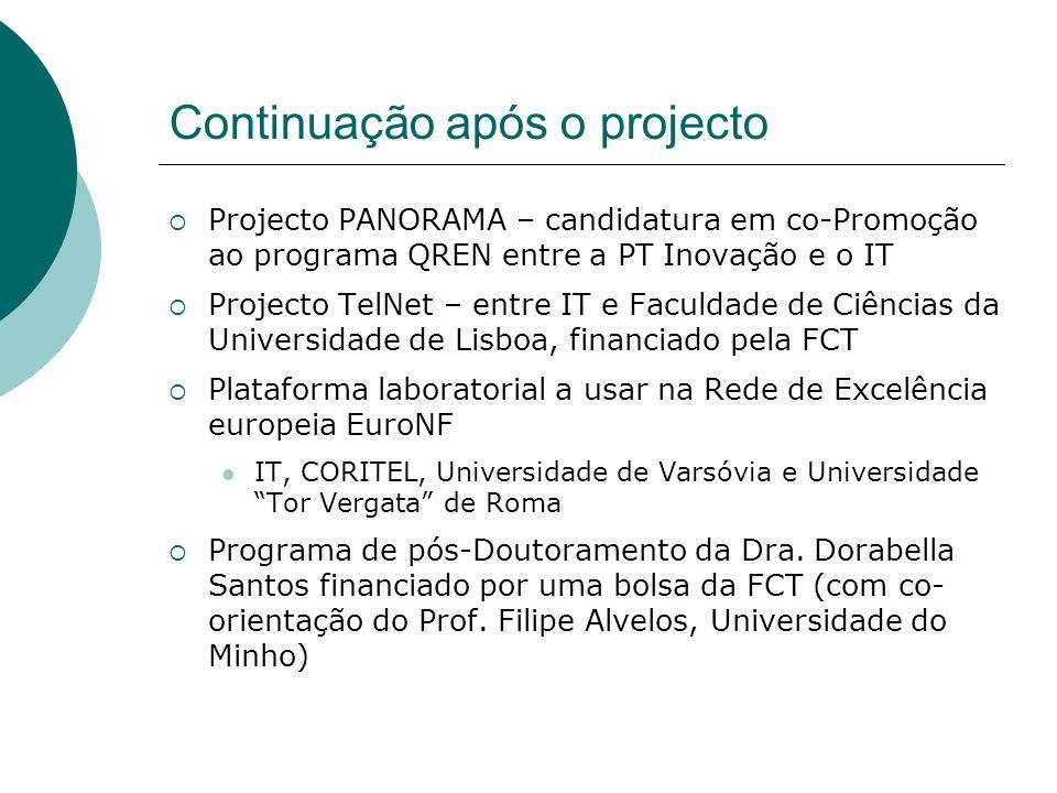Continuação após o projecto Projecto PANORAMA – candidatura em co-Promoção ao programa QREN entre a PT Inovação e o IT Projecto TelNet – entre IT e Fa