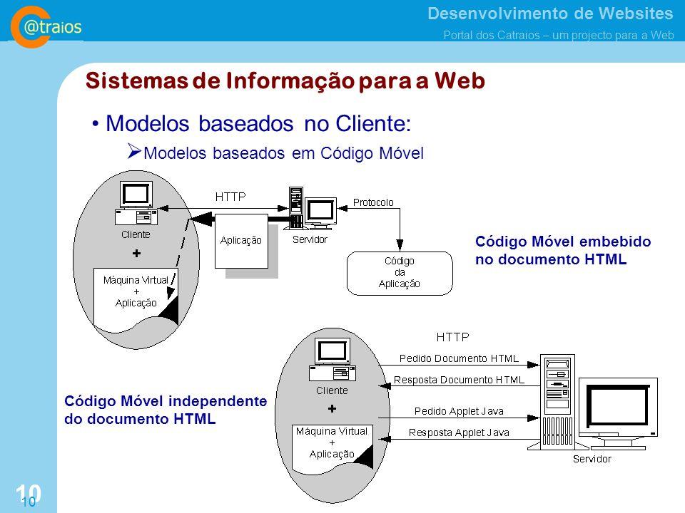 Desenvolvimento de Websites Portal dos Catraios – um projecto para a Web 10 Modelos baseados no Cliente: Modelos baseados em Código Móvel Código Móvel embebido no documento HTML Código Móvel independente do documento HTML Sistemas de Informação para a Web