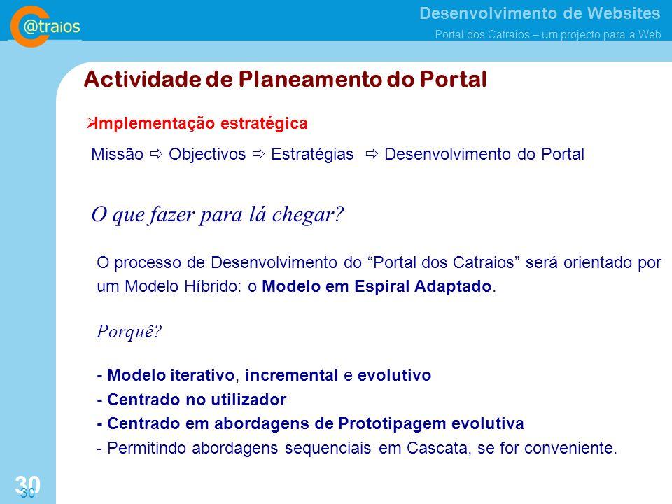 Desenvolvimento de Websites Portal dos Catraios – um projecto para a Web 30 Implementação estratégica Missão Objectivos Estratégias Desenvolvimento do Portal O que fazer para lá chegar.