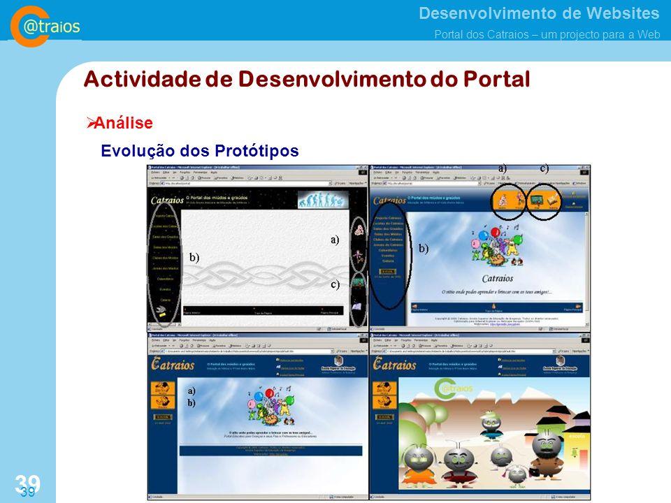 Desenvolvimento de Websites Portal dos Catraios – um projecto para a Web 39 Análise Actividade de Desenvolvimento do Portal Evolução dos Protótipos