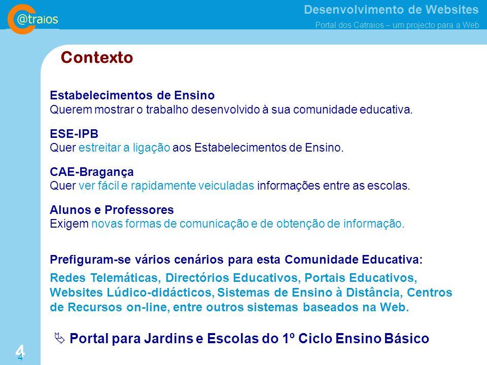 Desenvolvimento de Websites Portal dos Catraios – um projecto para a Web 4 4 Contexto Estabelecimentos de Ensino Querem mostrar o trabalho desenvolvido à sua comunidade educativa.