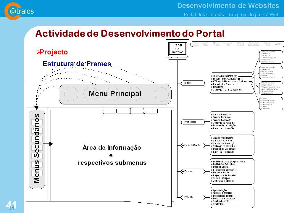 Desenvolvimento de Websites Portal dos Catraios – um projecto para a Web 41 Projecto Actividade de Desenvolvimento do Portal Estrutura de Frames