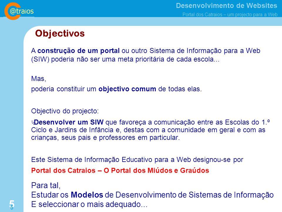 Desenvolvimento de Websites Portal dos Catraios – um projecto para a Web 5 5 Objectivos Objectivo do projecto: Desenvolver um SIW que favoreça a comunicação entre as Escolas do 1.º Ciclo e Jardins de Infância e, destas com a comunidade em geral e com as crianças, seus pais e professores em particular.