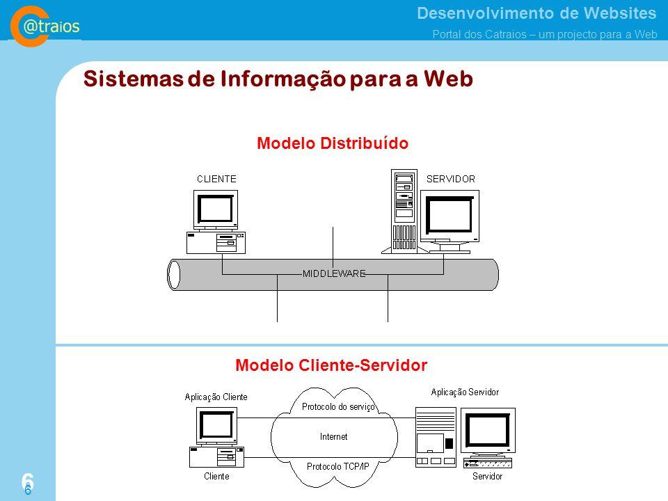 Desenvolvimento de Websites Portal dos Catraios – um projecto para a Web 6 6 Modelo Distribuído Modelo Cliente-Servidor Sistemas de Informação para a Web