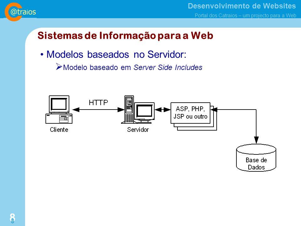 Desenvolvimento de Websites Portal dos Catraios – um projecto para a Web 8 8 Modelos baseados no Servidor: Modelo baseado em Server Side Includes Sistemas de Informação para a Web