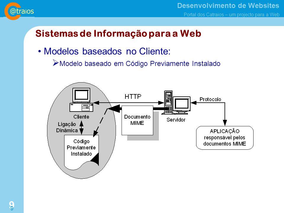 Desenvolvimento de Websites Portal dos Catraios – um projecto para a Web 9 9 Modelos baseados no Cliente: Modelo baseado em Código Previamente Instalado Sistemas de Informação para a Web