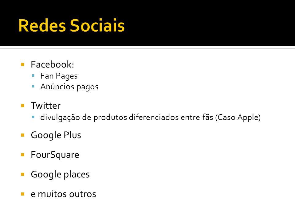 Facebook: Fan Pages Anúncios pagos Twitter divulgação de produtos diferenciados entre fãs (Caso Apple) Google Plus FourSquare Google places e muitos outros