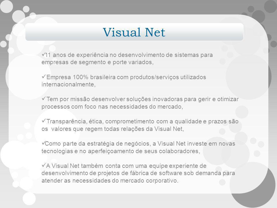 Visual Net 11 anos de experiência no desenvolvimento de sistemas para empresas de segmento e porte variados, Empresa 100% brasileira com produtos/serv