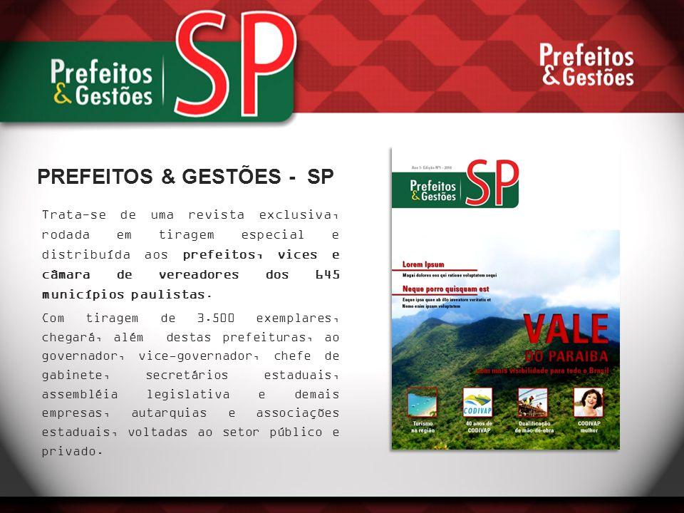 Trata-se de uma revista exclusiva, rodada em tiragem especial e distribuída aos prefeitos, vices e câmara de vereadores dos 645 municípios paulistas.