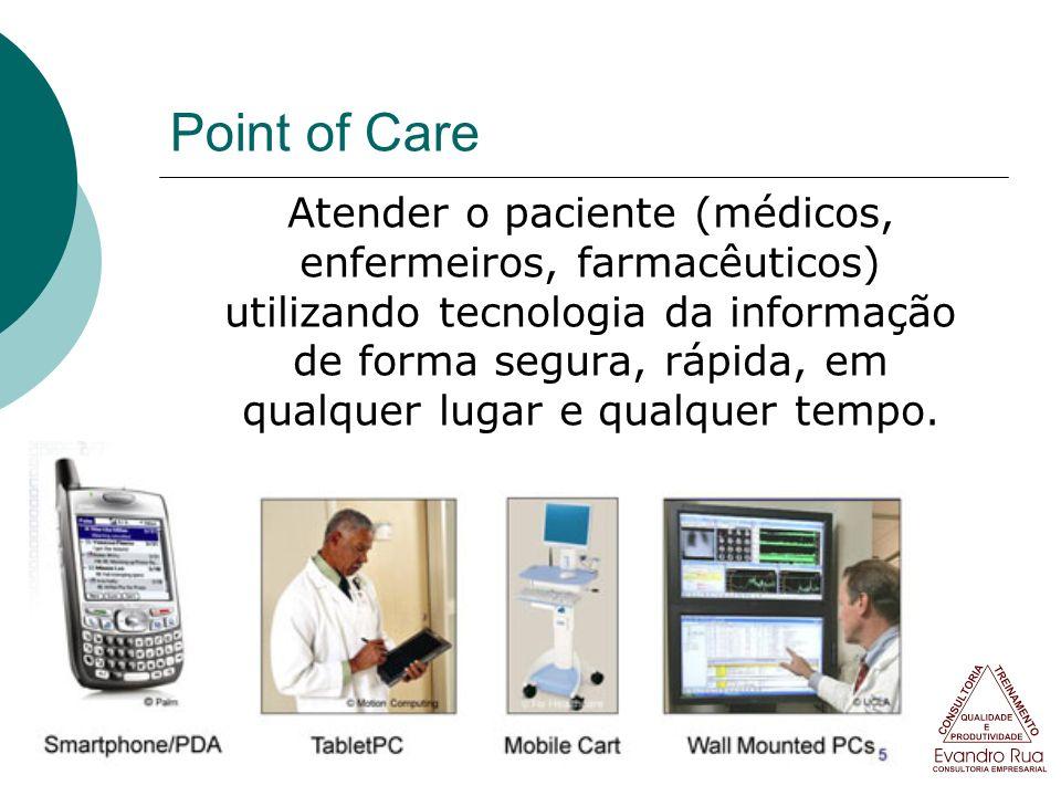 Point of Care Atender o paciente (médicos, enfermeiros, farmacêuticos) utilizando tecnologia da informação de forma segura, rápida, em qualquer lugar