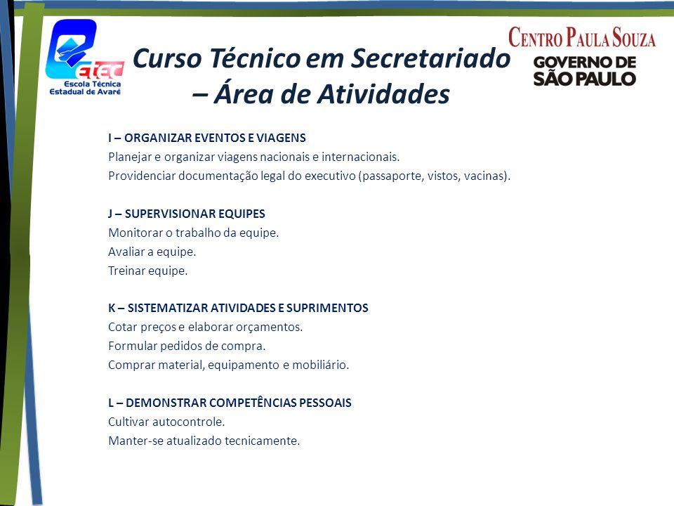 Curso Técnico em Secretariado – Área de Atividades I – ORGANIZAR EVENTOS E VIAGENS Planejar e organizar viagens nacionais e internacionais.