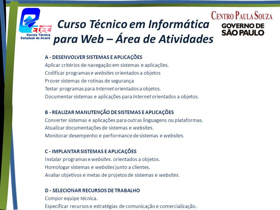 Curso Técnico em Informática para Web – Área de Atividades A - DESENVOLVER SISTEMAS E APLICAÇÕES Aplicar critérios de navegação em sistemas e aplicações.