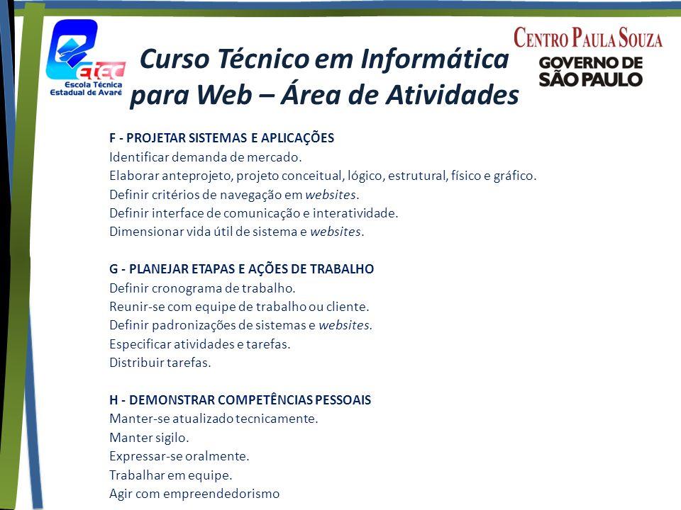 Curso Técnico em Informática para Web – Área de Atividades F - PROJETAR SISTEMAS E APLICAÇÕES Identificar demanda de mercado.
