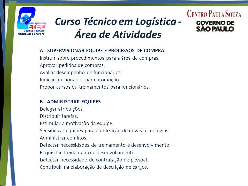 Curso Técnico em Logística - Área de Atividades A - SUPERVISIONAR EQUIPE E PROCESSOS DE COMPRA Instruir sobre procedimentos para a área de compras.