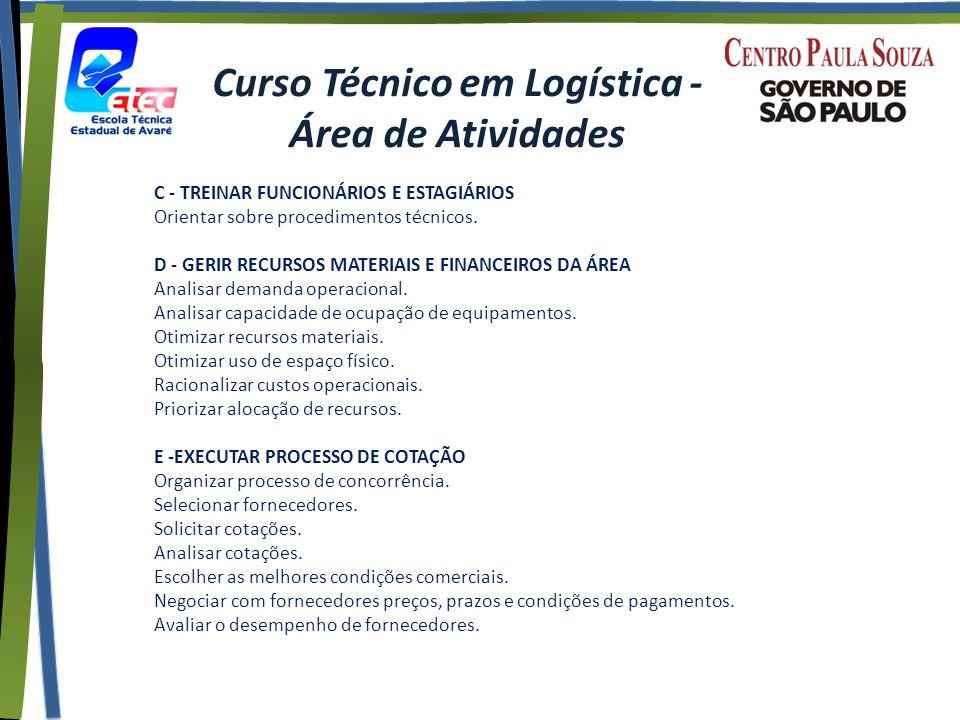 Curso Técnico em Logística - Área de Atividades C - TREINAR FUNCIONÁRIOS E ESTAGIÁRIOS Orientar sobre procedimentos técnicos.