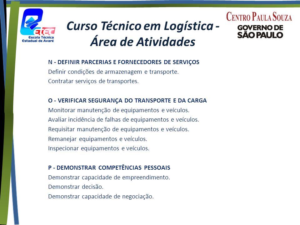 Curso Técnico em Logística - Área de Atividades N - DEFINIR PARCERIAS E FORNECEDORES DE SERVIÇOS Definir condições de armazenagem e transporte.