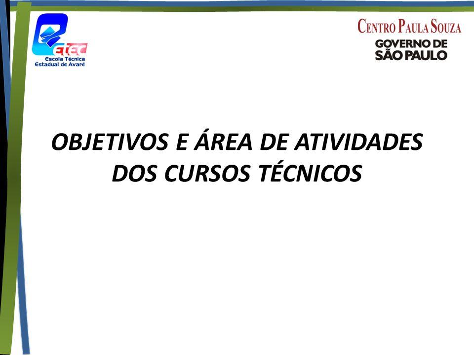 OBJETIVOS E ÁREA DE ATIVIDADES DOS CURSOS TÉCNICOS
