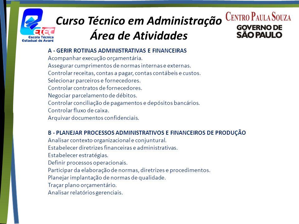 Curso Técnico em Administração Área de Atividades A - GERIR ROTINAS ADMINISTRATIVAS E FINANCEIRAS Acompanhar execução orçamentária.