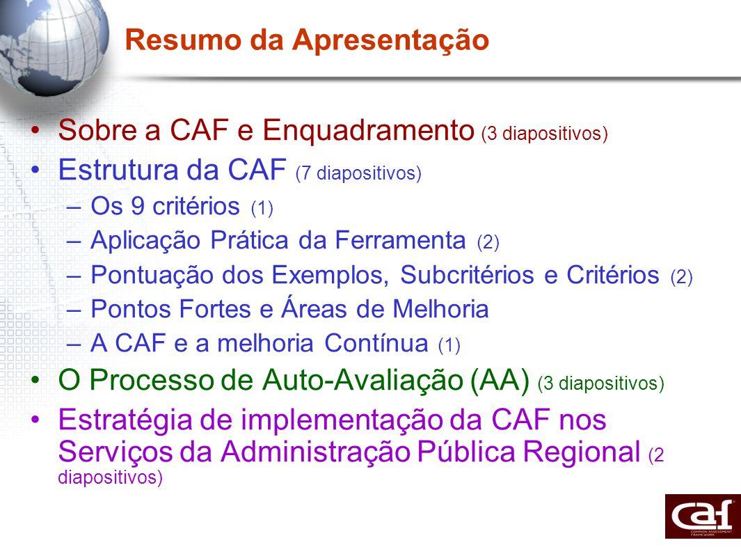 Resumo da Apresentação Sobre a CAF e Enquadramento (3 diapositivos) Estrutura da CAF (7 diapositivos) –Os 9 critérios (1) –Aplicação Prática da Ferram