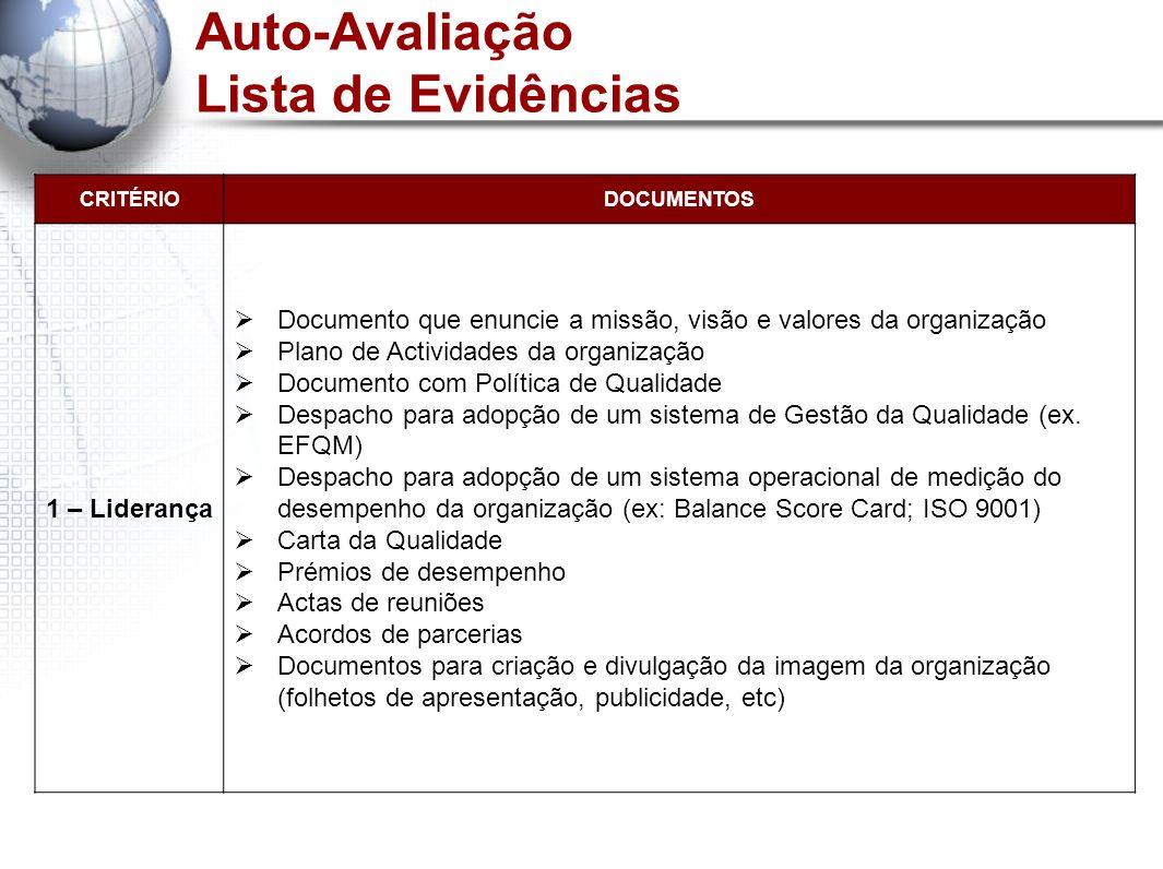 Auto-Avaliação Lista de Evidências CRITÉRIODOCUMENTOS 1 – Liderança Documento que enuncie a missão, visão e valores da organização Plano de Actividade