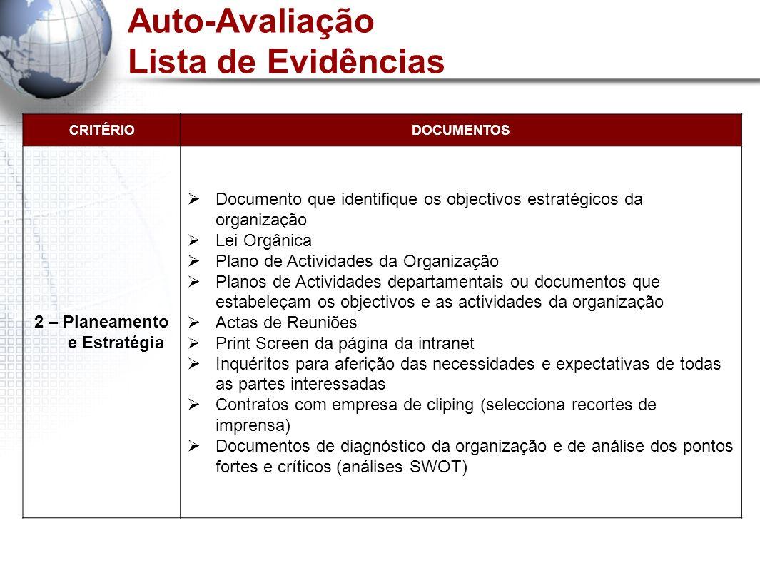 Auto-Avaliação Lista de Evidências CRITÉRIODOCUMENTOS 2 – Planeamento e Estratégia Documento que identifique os objectivos estratégicos da organização