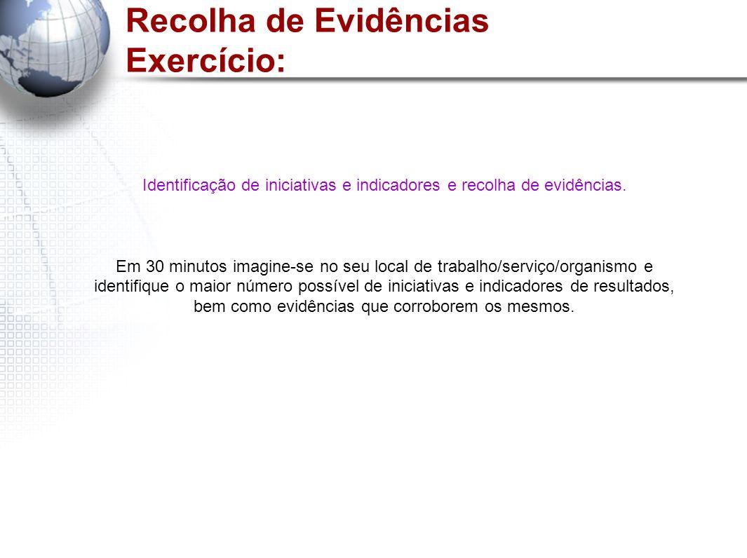 Recolha de Evidências Exercício: Identificação de iniciativas e indicadores e recolha de evidências. Em 30 minutos imagine-se no seu local de trabalho