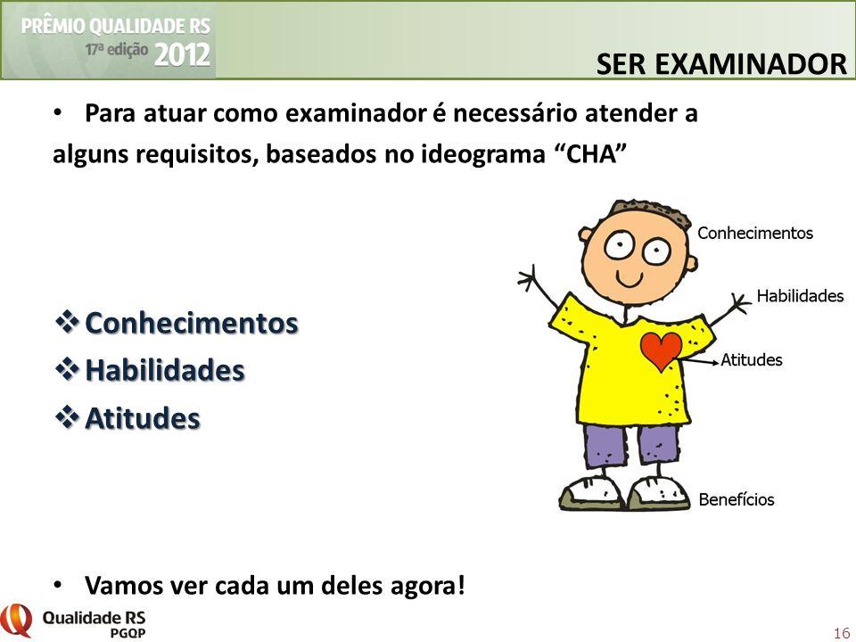 16 Para atuar como examinador é necessário atender a alguns requisitos, baseados no ideograma CHA Conhecimentos Conhecimentos Habilidades Habilidades