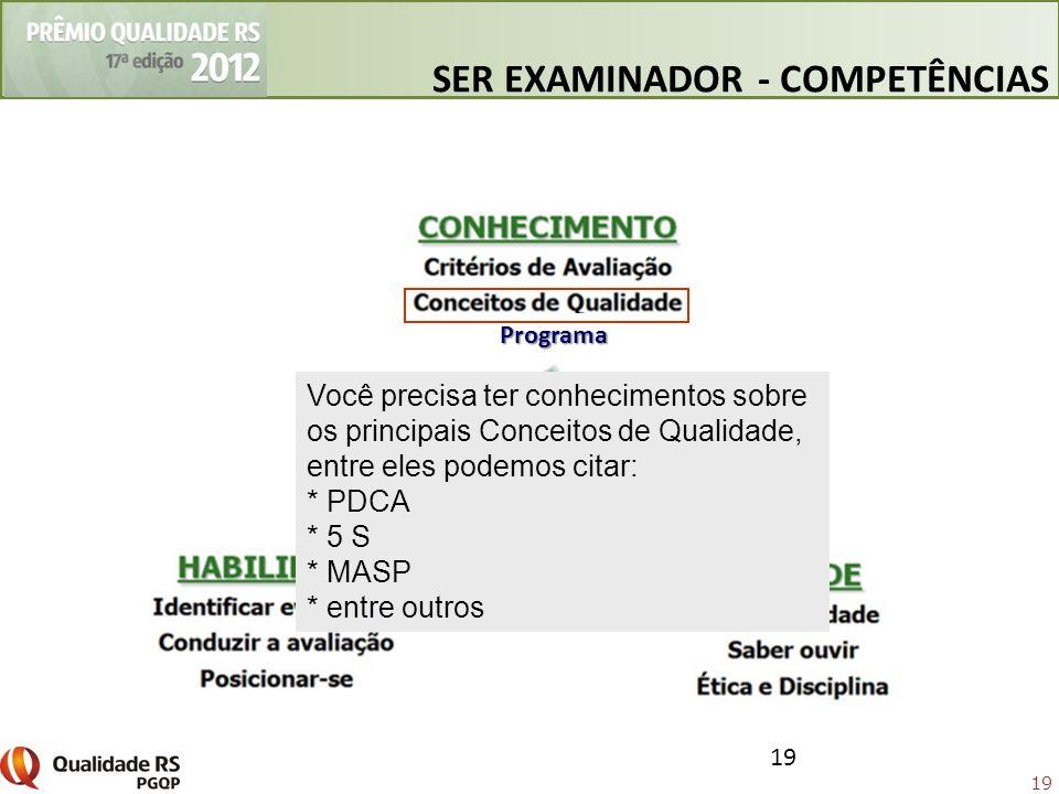 19 Você precisa ter conhecimentos sobre os principais Conceitos de Qualidade, entre eles podemos citar: * PDCA * 5 S * MASP * entre outros SER EXAMINA