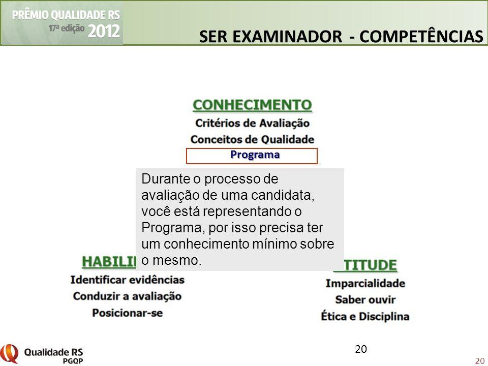 20 Programa Durante o processo de avaliação de uma candidata, você está representando o Programa, por isso precisa ter um conhecimento mínimo sobre o