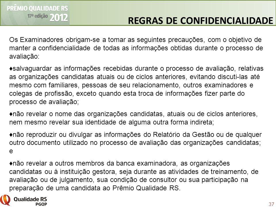 37 Os Examinadores obrigam-se a tomar as seguintes precauções, com o objetivo de manter a confidencialidade de todas as informações obtidas durante o