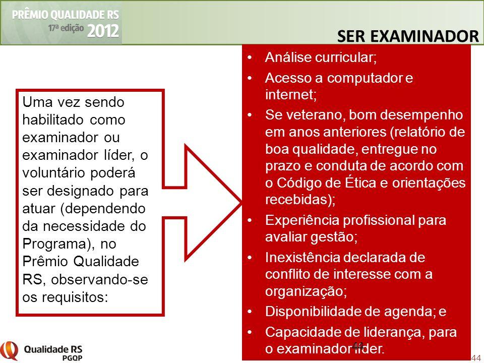 44 Uma vez sendo habilitado como examinador ou examinador líder, o voluntário poderá ser designado para atuar (dependendo da necessidade do Programa),