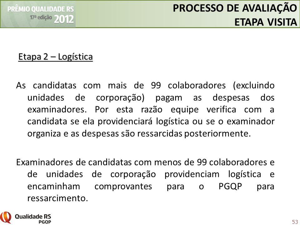 53 Etapa 2 – Logística As candidatas com mais de 99 colaboradores (excluindo unidades de corporação) pagam as despesas dos examinadores. Por esta razã