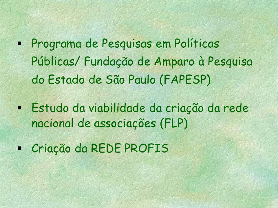 Programa de Pesquisas em Políticas Públicas/ Fundação de Amparo à Pesquisa do Estado de São Paulo (FAPESP) Estudo da viabilidade da criação da rede nacional de associações (FLP) Criação da REDE PROFIS
