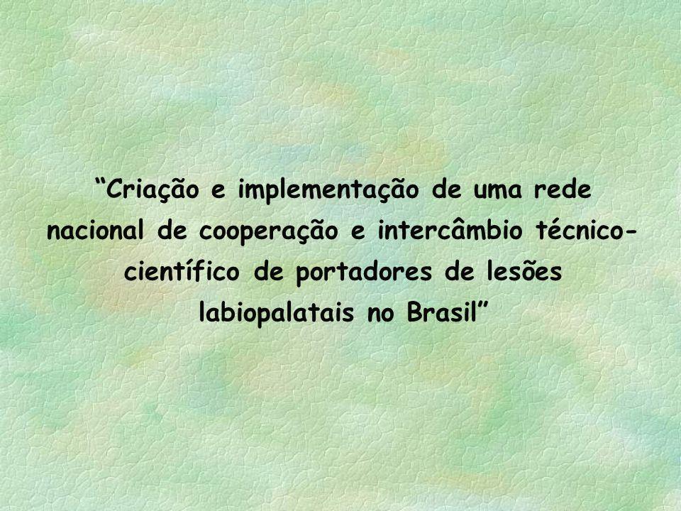 Criação e implementação de uma rede nacional de cooperação e intercâmbio técnico- científico de portadores de lesões labiopalatais no Brasil