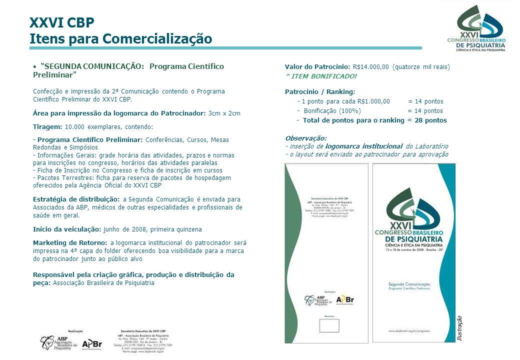 XXVI CBP Itens para Comercialização Ilustração Valor do Patrocínio: R$14.000,00 (quatorze mil reais) * ITEM BONIFICADO! Patrocínio / Ranking: - 1 pont