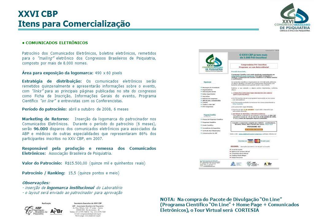 XXVI CBP Itens para Comercialização NOTA: Na compra do Pacote de Divulgação On Line (Programa Científico On Line + Home Page + Comunicados Eletrônicos