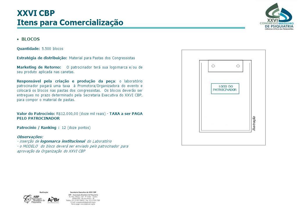 XXVI CBP Itens para Comercialização BLOCOS Quantidade: 5.500 blocos Estratégia de distribuição: Material para Pastas dos Congressistas Marketing de Re