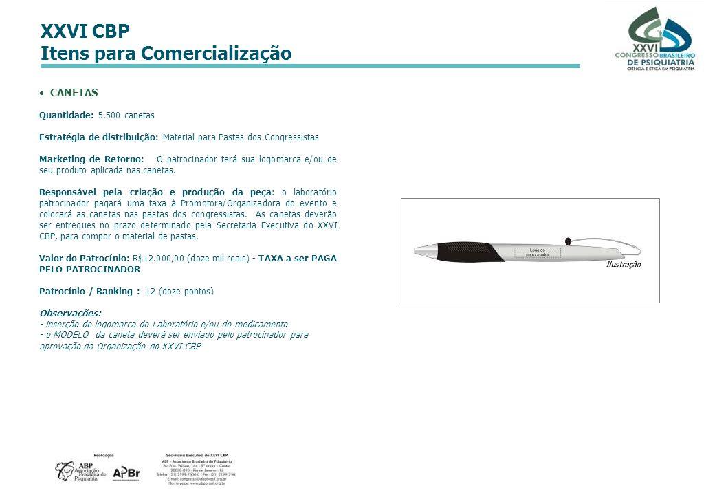 XXVI CBP Itens para Comercialização CANETAS Quantidade: 5.500 canetas Estratégia de distribuição: Material para Pastas dos Congressistas Marketing de