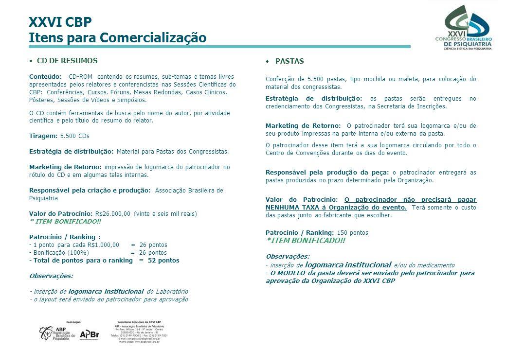 XXVI CBP Itens para Comercialização PASTAS Confecção de 5.500 pastas, tipo mochila ou maleta, para colocação do material dos congressistas. Estratégia