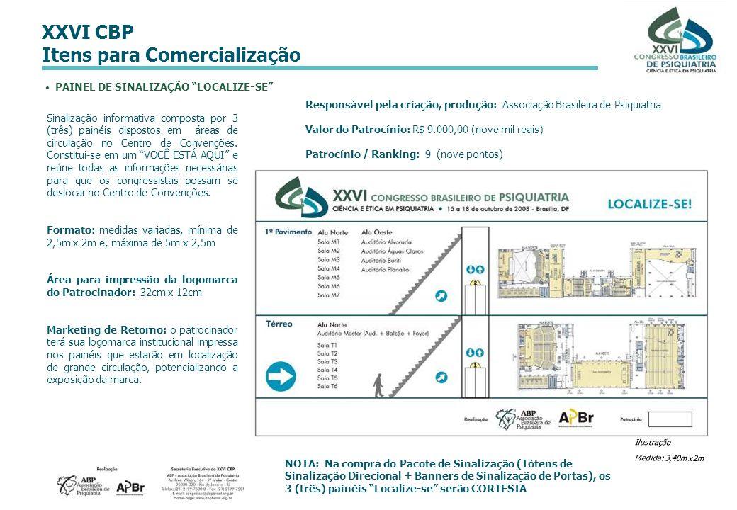 XXVI CBP Itens para Comercialização Sinalização informativa composta por 3 (três) painéis dispostos em áreas de circulação no Centro de Convenções. Co