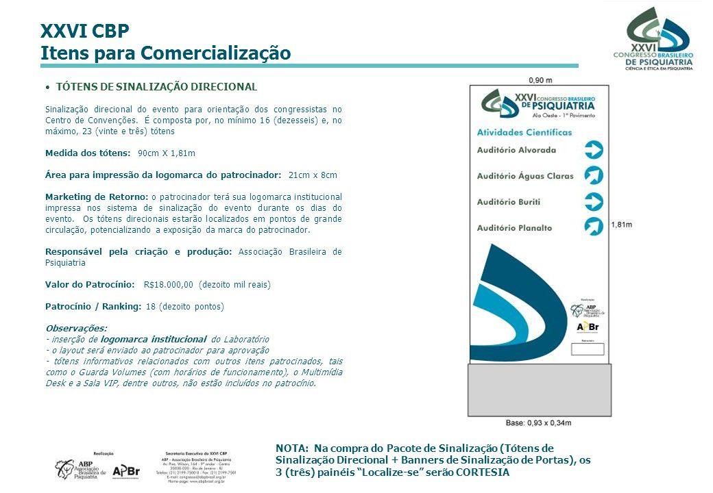 XXVI CBP Itens para Comercialização TÓTENS DE SINALIZAÇÃO DIRECIONAL Sinalização direcional do evento para orientação dos congressistas no Centro de C