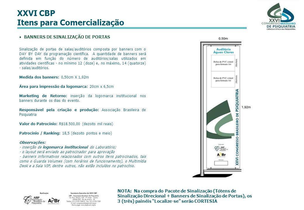 XXVI CBP Itens para Comercialização BANNERS DE SINALIZAÇÃO DE PORTAS Sinalização de portas de salas/auditórios composta por banners com o DAY BY DAY d