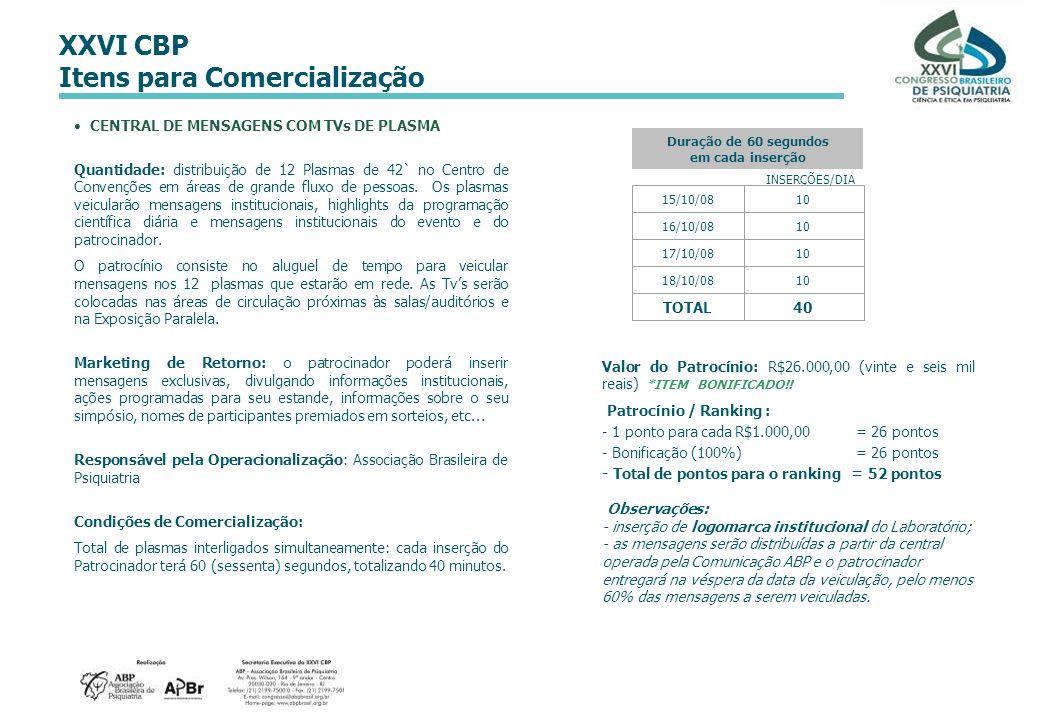 XXVI CBP Itens para Comercialização CENTRAL DE MENSAGENS COM TVs DE PLASMA Quantidade: distribuição de 12 Plasmas de 42` no Centro de Convenções em ár