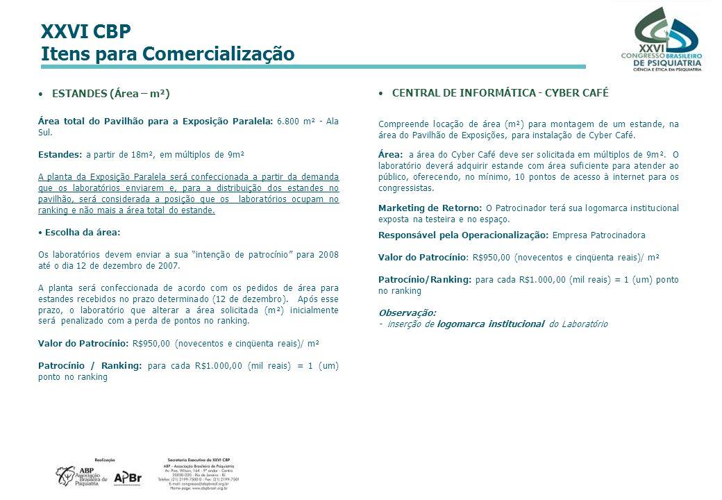 XXVI CBP Itens para Comercialização ESTANDES (Área – m²) Área total do Pavilhão para a Exposição Paralela: 6.800 m² - Ala Sul. Estandes: a partir de 1