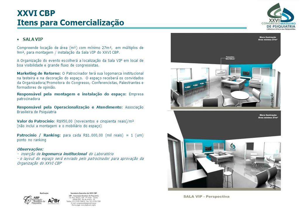 XXVI CBP Itens para Comercialização SALA VIP Compreende locação de área (m²) com mínimo 27m², em múltiplos de 9m², para montagem / instalação da Sala