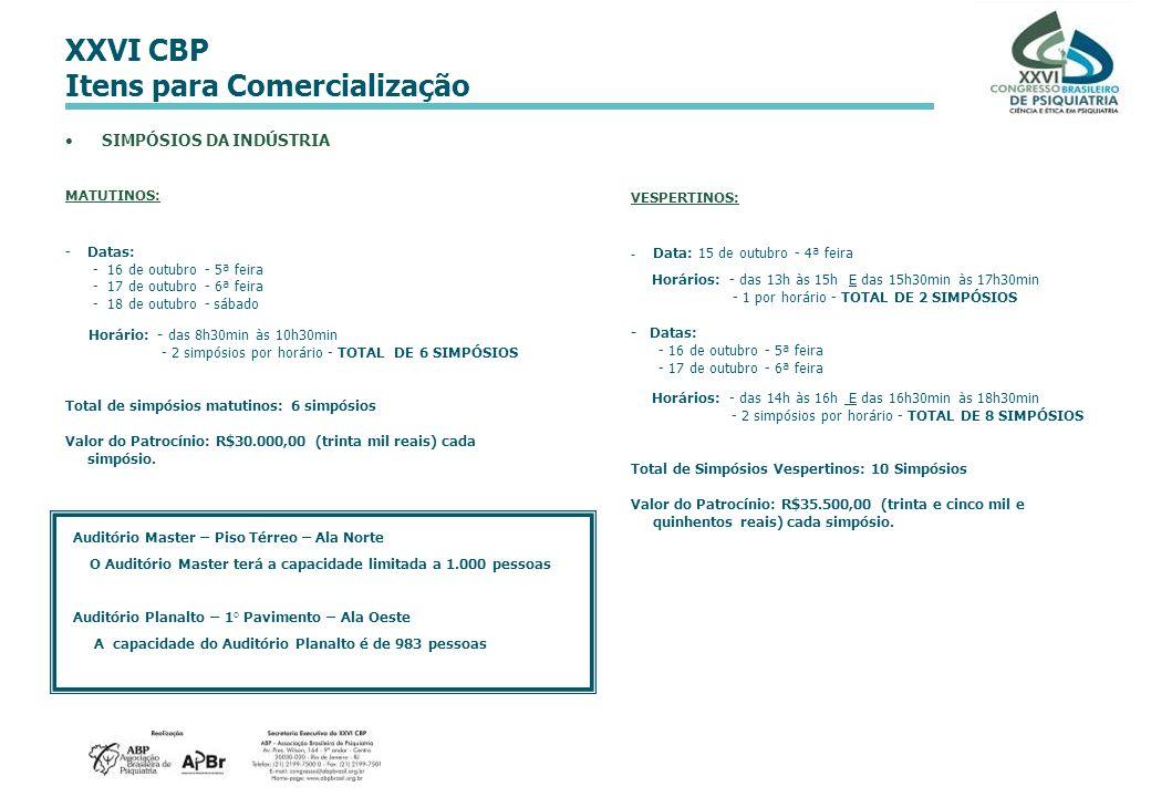 XXVI CBP Itens para Comercialização SIMPÓSIOS DA INDÚSTRIA MATUTINOS: -Datas: - 16 de outubro - 5ª feira - 17 de outubro - 6ª feira - 18 de outubro -